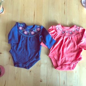 2 Blue and Coral Long Sleeve Onsies